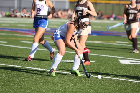 Senior Samantha Marquand controls the ball in play last season.