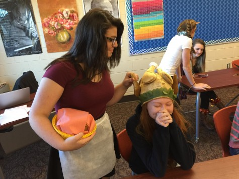 Sophomores Kate Porter and Sophia Papathanasiou show their Thanksgiving spirit during last year's HoliDay.