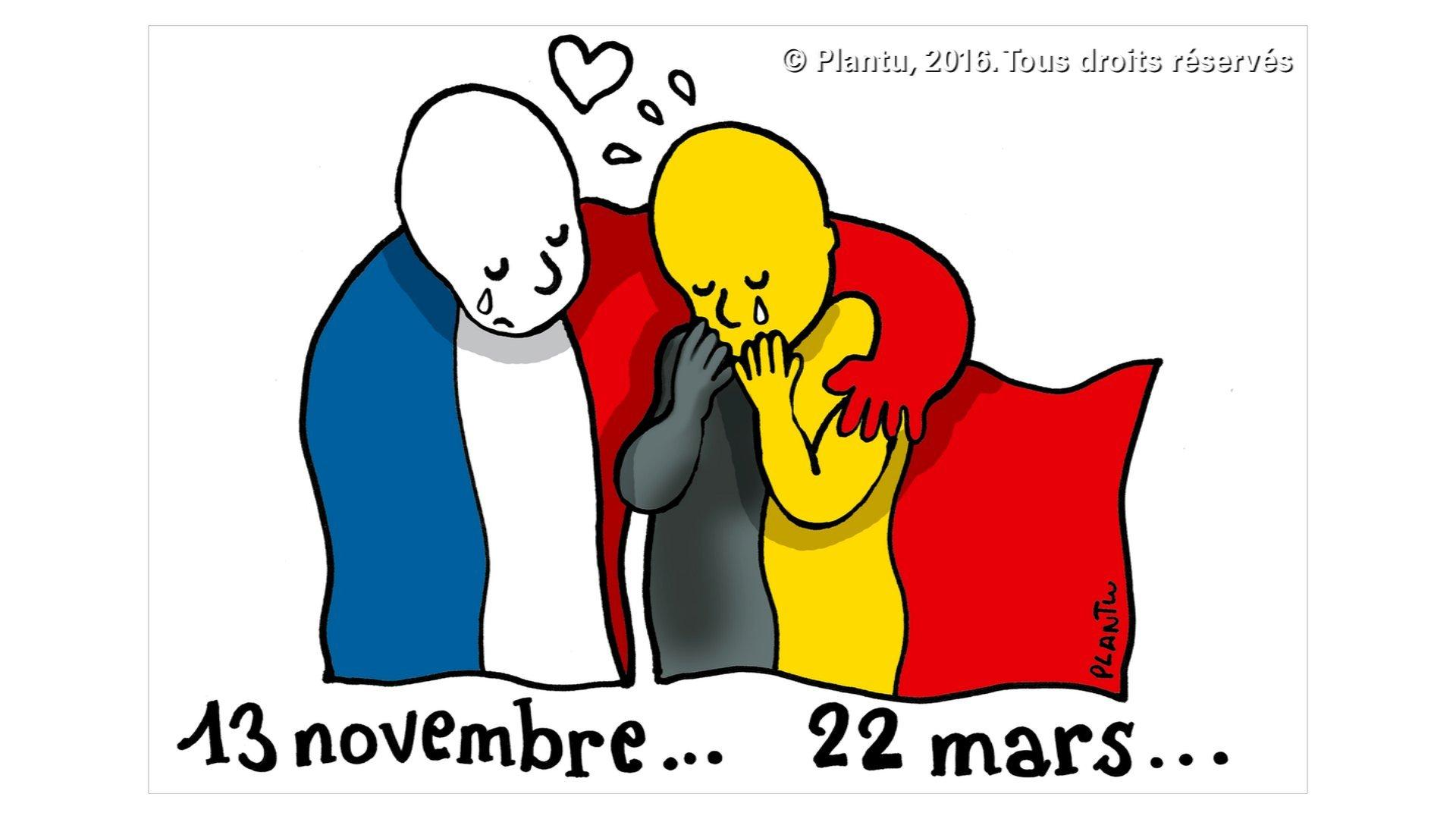 French cartoonist Jean Plantureux, who goes by Plantu, drew an emotional cartoon for French newspaper Le Monde. A crying person draped in a French flag hugs a crying person with a Belgian flag, suggesting solidarity between the two countries. The dates beneath each figure signify the November 13 Paris attacks and the March 22 Brussels attacks.