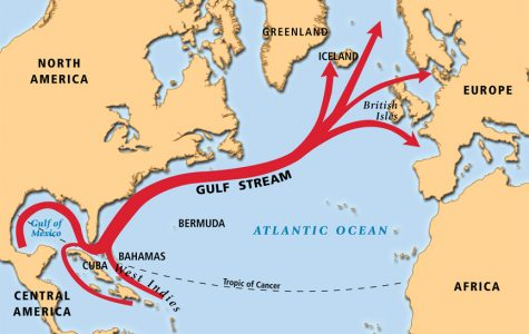 This map shows the gulf stream in which Dow hopes her boat and drifter will travel.