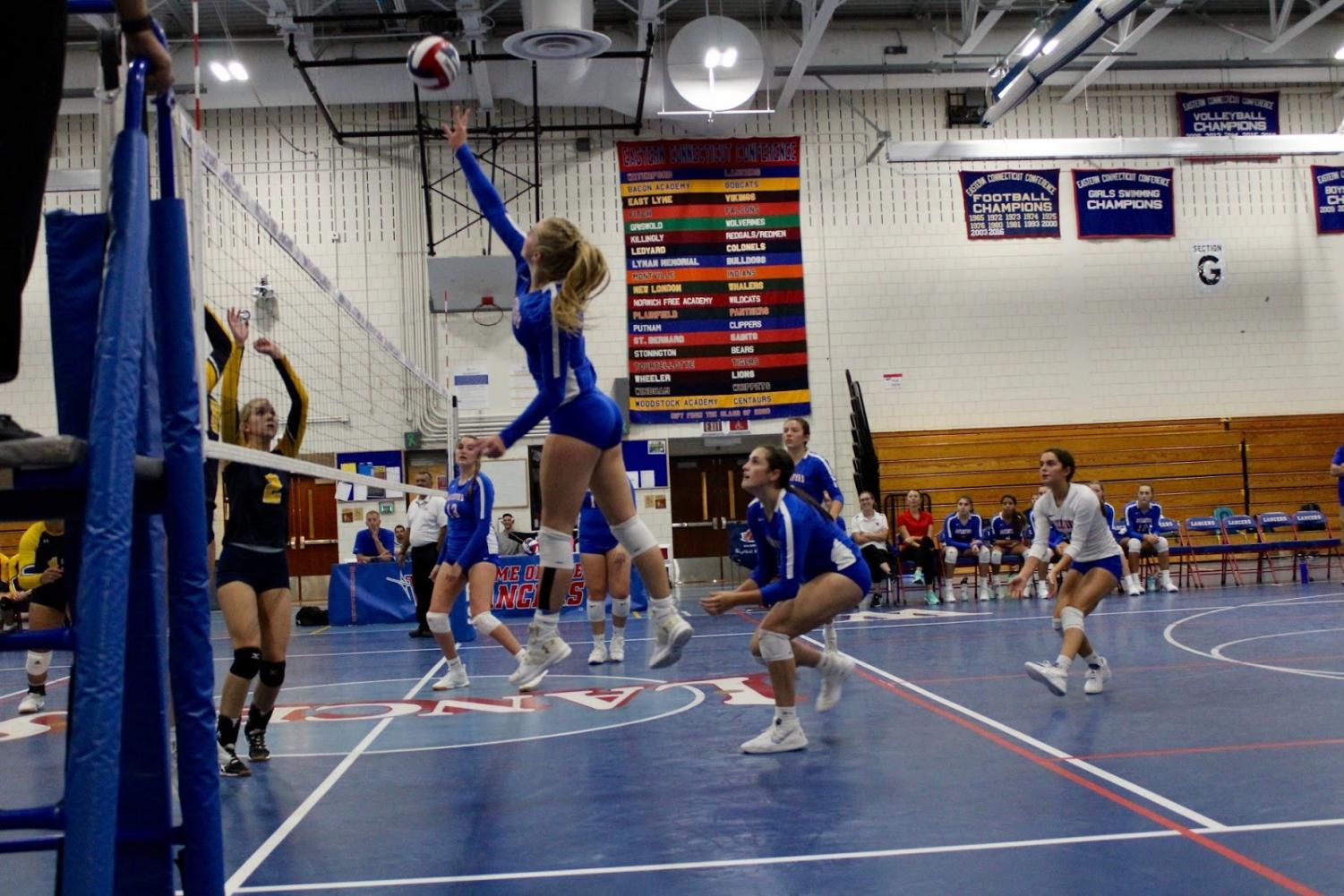 Ryleigh Gonyo attempts a kill in Waterford's game.